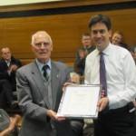 Ed Miliband making a 50 Year Membership Award to Wednesfield North LP Member Bob Jones last year.