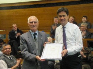Ed Miliband making a 50 Year Membership Award to Wednesfield North LP Member Bob Jones last year.