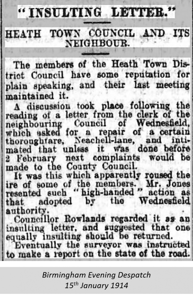 Wednesfield Council - 1914 - bham evening despatch