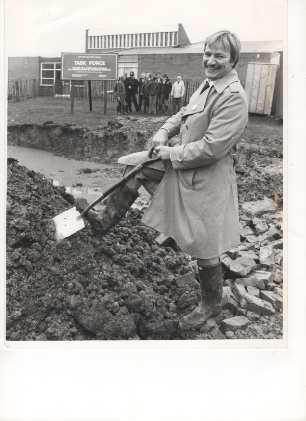 The then West Midlands County Councillor- Phil Bateman. Cutting the First Sod - Circa 1983""