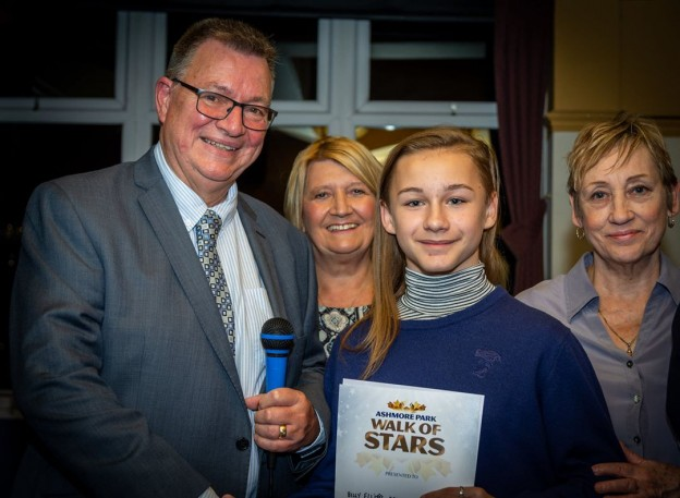 Billy receiving his 'Walk of Stars' certificate at the Wednesfield North Excellence Awards Evening.