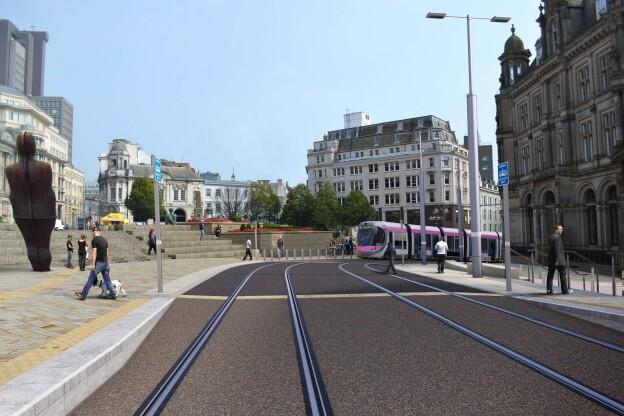 Catenary-free trams in Victoria Square